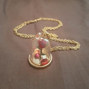 Beauty & the Beast Rose Necklace